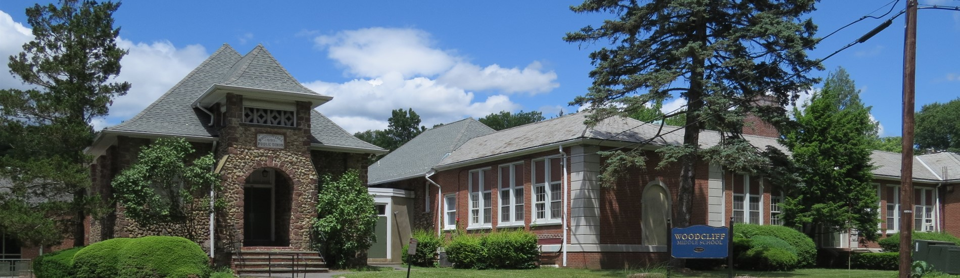 Woodcliff Middle School with Old School House and sign