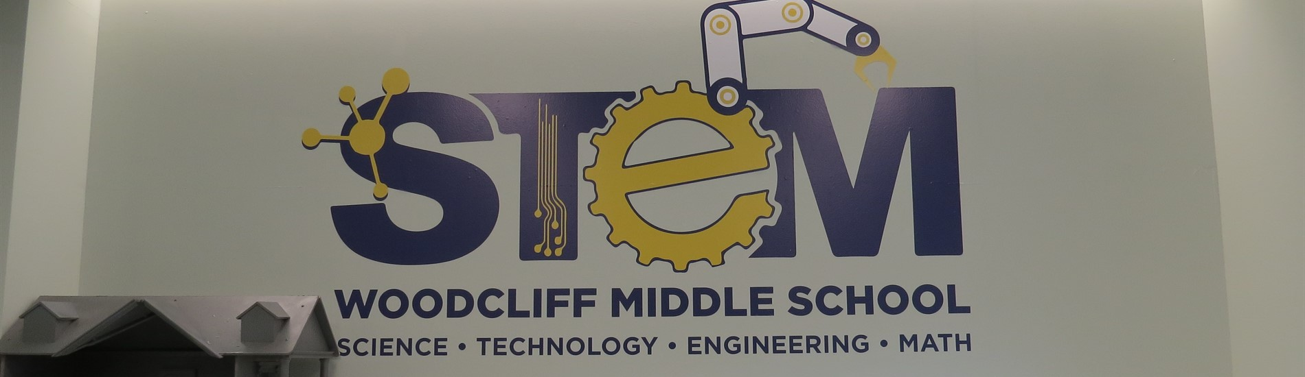 STEM logo/sign in our new STEM lab