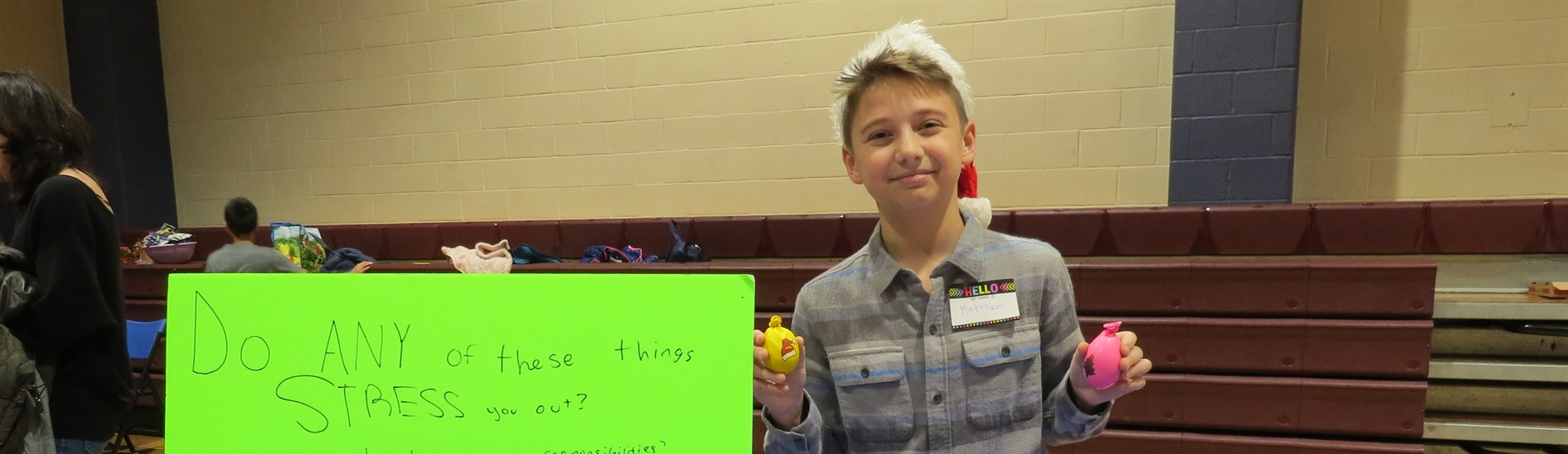 "A ""Treps student selling his handmade stress balls at the Market Place"